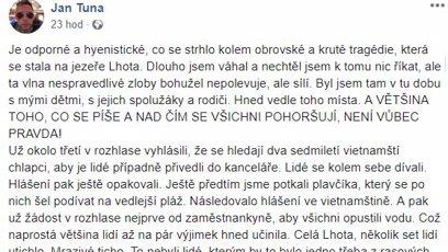 Facebookový status Jana Tuny.